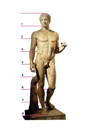 "This sculpture seems to epitomize the ideal male human form. All of the body parts seem perfectly proportioned and the muscles are beautifully defined as if the image were of an athlete. The image is youthful with a calm demeanor. The right missing forearm looks as if it used to be resting at his side, while the left elbow was probably at a 90 degree angle, with the hand holding something. The slight bend in the left leg gives the impression of movement, as if the image was frozen while walking. The counterpoised stance adds an air of nobility to the ""man""."