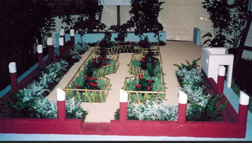 The three-dimensional of the garden of the house